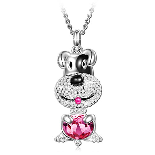 c95c137ec LadyColour Lucky Dog Ruby Doggie Pendant Necklace Swarovski Crystals  Jewelry for Women Christmas Gifts for Girls Gifts for Girlfriend Gifts for  Daughter ...