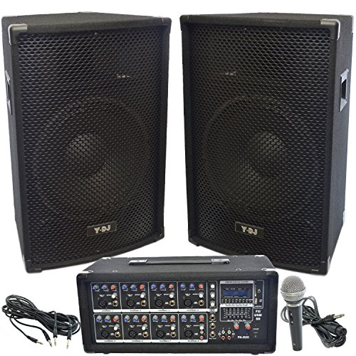 y dj pa speaker system 8 channel 200w usb sd powered mixer and amplifier pair of 22 speaker. Black Bedroom Furniture Sets. Home Design Ideas