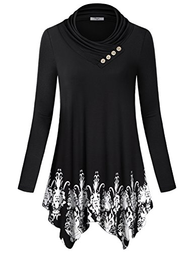 31ac805f0 Cowl neck with button trim/ Long sleeve/ Sequin elbow patches/ Flare hem/  Relaxed fit. Perfect in all season. Floral printed pattern or solid color  and ...