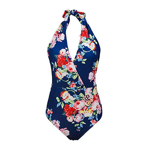 4f76fbba4bf23 Kxing One Piece Swimsuits For Women Printed Halter V Neck Monokini High  Waisted Bathing Suit