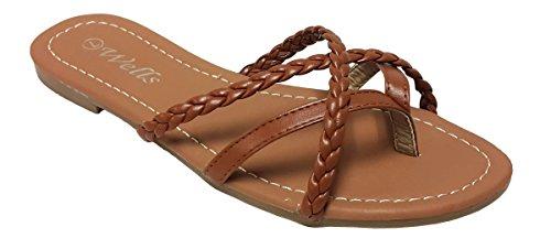 61486c4dfe9 Elegant Womens Fashion Criss Cross Braided Strappy Flip Flop Flat Sandals