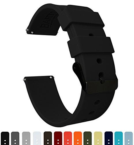 Soft Rubber Watch Bands Black/Fluorescent Yellow, 20mm – Choose